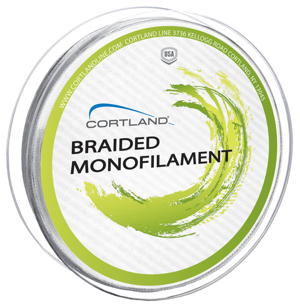 Cortland braided mono running line white glasgow for Braided fishing line vs mono