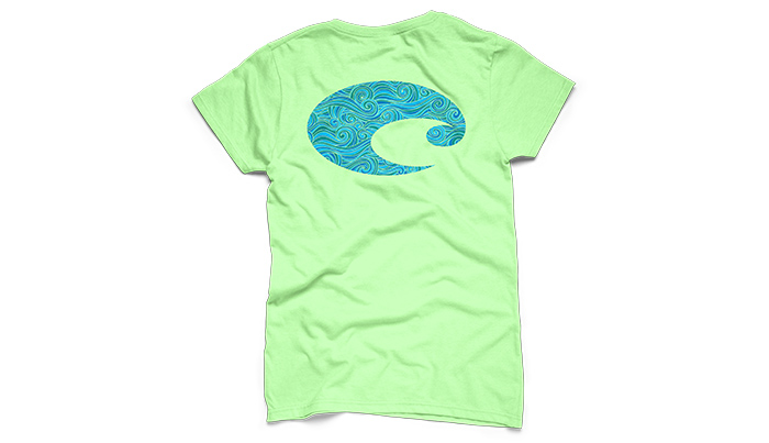Costa del mar logo surf short sleeve ladies t shirt for Costa fishing shirt
