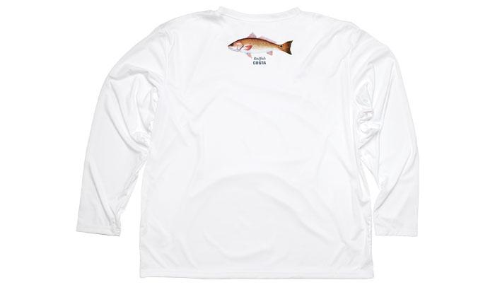 Costa del mar technical redfish white long sleeve shirt for Costa fishing shirt