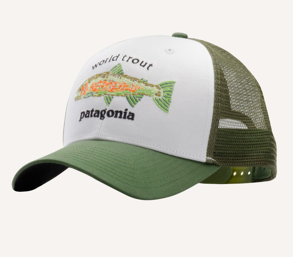 Patagonia world trout fishstitch trucker hat glasgow for Patagonia fly fishing hat
