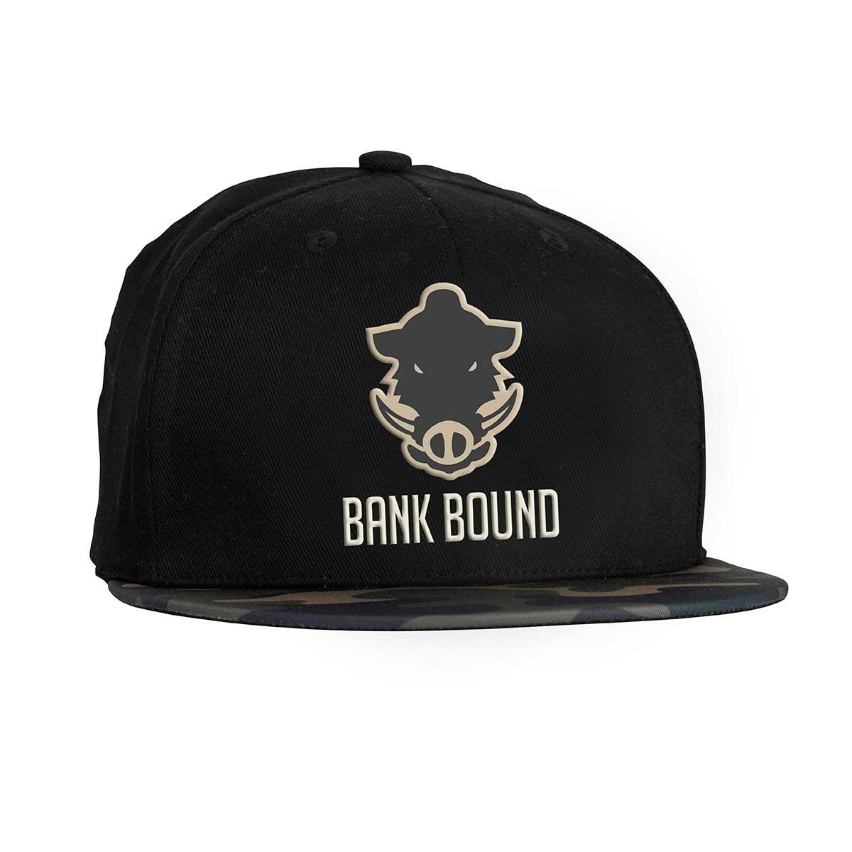 Prologic bank bound flat bill cap black camo glasgow for Flat bill fishing hats