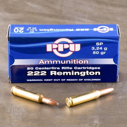 PPU  222 Rem Soft Point 50 Gr (20 Box)
