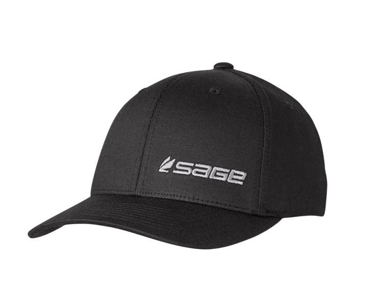 Sage flex fit hat black twill glasgow angling centre for Fitted fishing hats