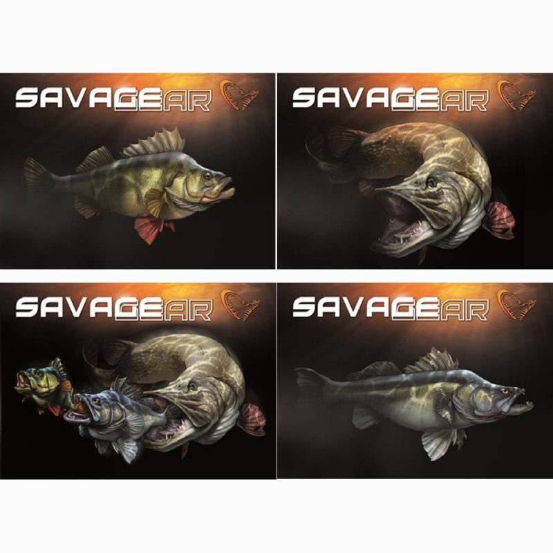 Savage gear fish cartoon freshwater sticker kit 4pc for Savage fishing gear