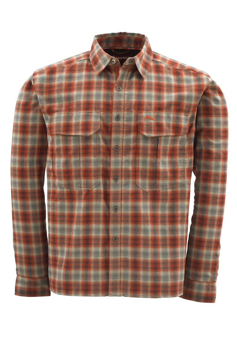Simms coldweather shirt redwood plaid glasgow angling centre for Simms fishing shirts