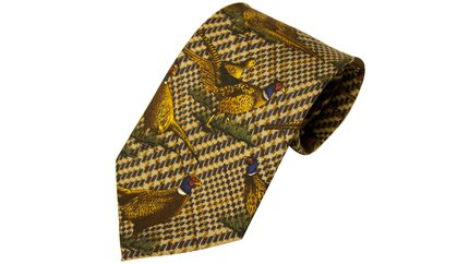 Bisley Green Large Pheasants Silk Tie