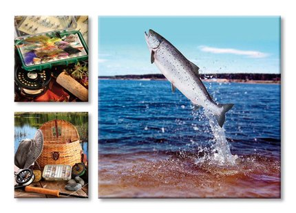 Country Cards Leaping Salmon & Tackle Greetings Card