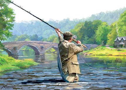 Country Cards Salmon Fishing Greetings Card