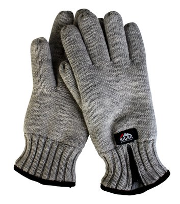 Eiger Knitted Glove w/Zipper Melange Black/Grey