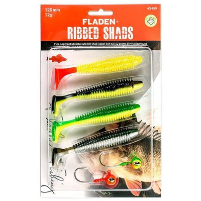 Fladen Ribbed Shad Assortment with Jigheads