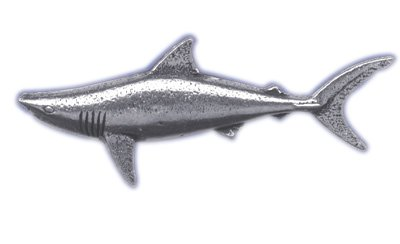 Just Fish Pewter Lapel Pin Mako Shark