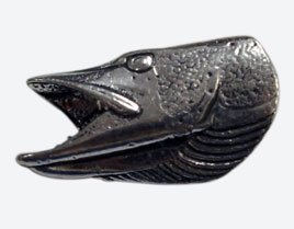 Just Fish Pewter Lapel Pin Pike Head