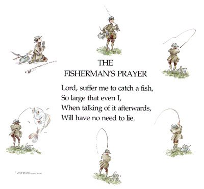 Fishing Maps Fisherman's Prayer Unframed