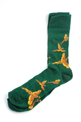 Just Fish Pheasant Socks Green