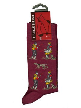 Just Fish Shooting Scene Socks Burgundy