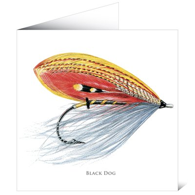 Mayfly Art Black Dog Greetings Card