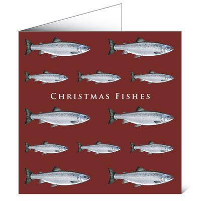 Mayfly Art Christmas Fishes Greetings Card
