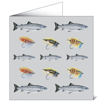 Mayfly Art Salmon And Fies Greeting Card