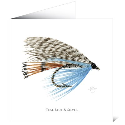 Mayfly Art Teal Blue & Silver Greetings Card