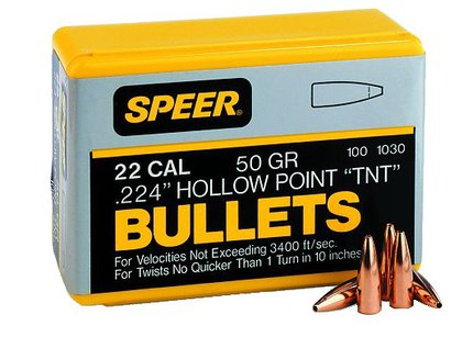 Speer .224 50gr Spitzer TNT HP