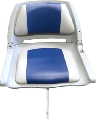 Waveline Moulded Folding Down Boat Seat Grey/Blue Cushion