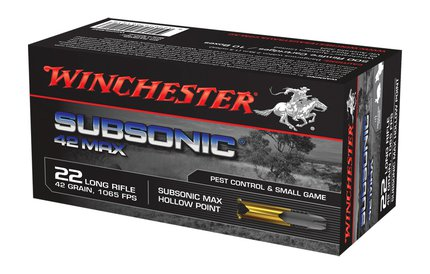 Winchester .22 LR Subsonic Max 42Grain Hollow Point x50