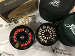 Abel Preloved - Abel Super #11 LA Custom Coral Black/Gold Fly Reel with Abe lArm and Spare Deep Spool - Excellent