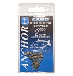 Anchor Camo Ring Swivels Gravel & Green Size 8