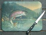 Just Fish Rainbow Trout Glass Chopping Board