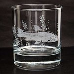 Just Fish Glass Tumbler with engraved Tench