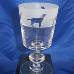 Just Fish Labrador frosted frieze crystal chalice wine glass