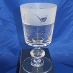 Just Fish Pheasant frosted frieze crystal chalice wine glass
