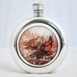 Just Fish Pheasant (hen and cock) round pewter flask