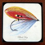 Mayfly Art Black Dog Coasters - Set Of 4