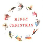 Mayfly Art Merry Christmas Fies Greeting Card
