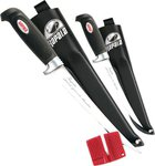 Rapala Filleting Combo Pack Plus Sheaths and Sharpener - 10/15cm Blades