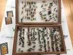 Vintage Preloved - Wooden Double Sided Fly Box 10''x6''x3'' with 300 Trout and Salmon Flies - Used