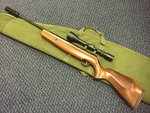 Preloved Webley Longbow .22 Air Rifle with Scope Silencer and Bag - Used
