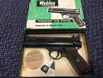 Preloved Webley Premier .22 Air Pistol Early 1965 'B' Series, Boxed with Papers - Excellent